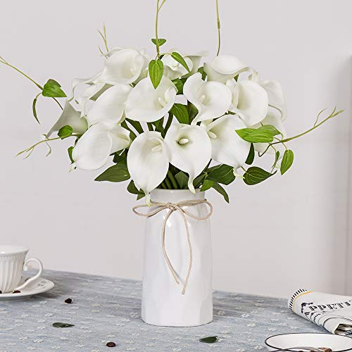 YUYAO Calla Lily Artificial Flowers with Ceramic Vase Bridal Wedding Bouquets Latex Real Touch Lillies Flower Arrangements for Home Party (White 1 with vase)