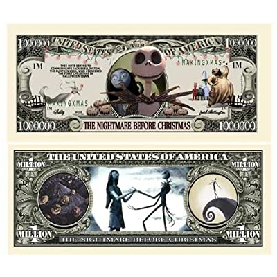 Nightmare Before Christmas Million Dollar Bill - Pack of 50 Bills - Limited Edition Collectible - Jack Skellington - Pumpkin King: Toys & Games