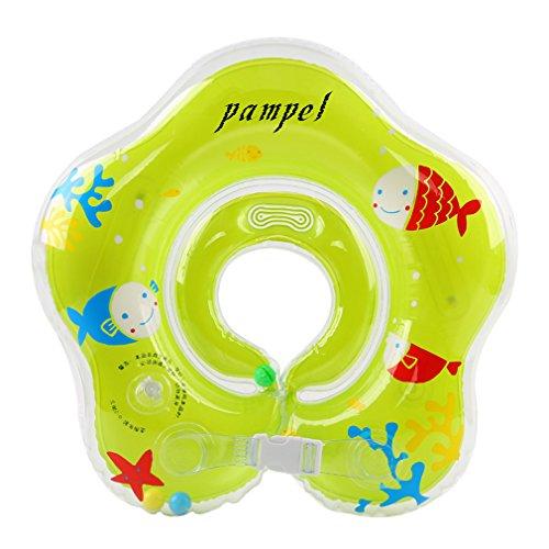Pampel Floating Swim Ring PVC Inflatable Baby Shoulder Strap Swimming Ring,Green,Medium