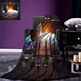 smallbeefly Outer Space Custom Design Cozy Flannel Blanket Window View from Spaceship Station to Universe Celestial Discovery Fiction Art Lightweight Blanket Extra Big Grey Black