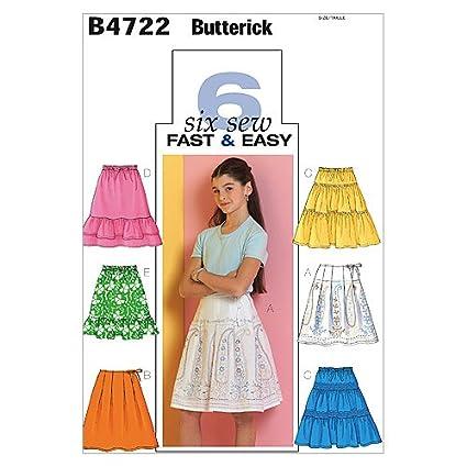93c66667d Butterick 4722 CH- Patrones de costura (faldas para niña, 5 modelos ...