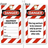 Equipment Locked Out By, Heavy Duty 15 mil thick Vinyl Tag, 25 Tags / Pack, 3.25'' x 6''