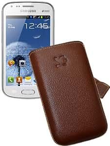 Suncase 41382653 - Funda de cuero para Samsung Galaxy S Duos S7562, color marrón rugoso