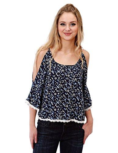 Roper Floral Shirt - Roper Western Shirt Womens 3/4 Floral Lace L Blue 03-050-0565-6027 BU