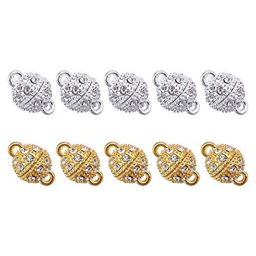 (10Pcs Rhinestone Round Magnetic Clasps-Crystal Magnetic Converter Fasteners for DIY Handcraft Bracelet Necklace Jewelry Making)