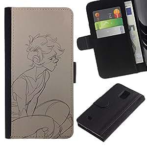 JackGot ( Boy Sketch Profil Art du portrait dessin au crayon ) Samsung Galaxy Note 4 IV la tarjeta de Crédito Slots PU Funda de cuero Monedero caso cubierta de piel