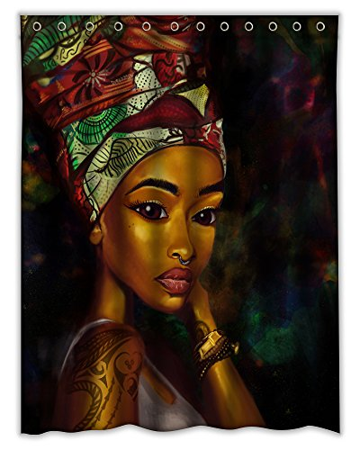 - Homeshiny African Woman Shower Curtain, Bath Decorations Bathroom Decor Sets with Hooks Gifts for Men and Women in Art Print Waterproof Polyester Fabric, 60