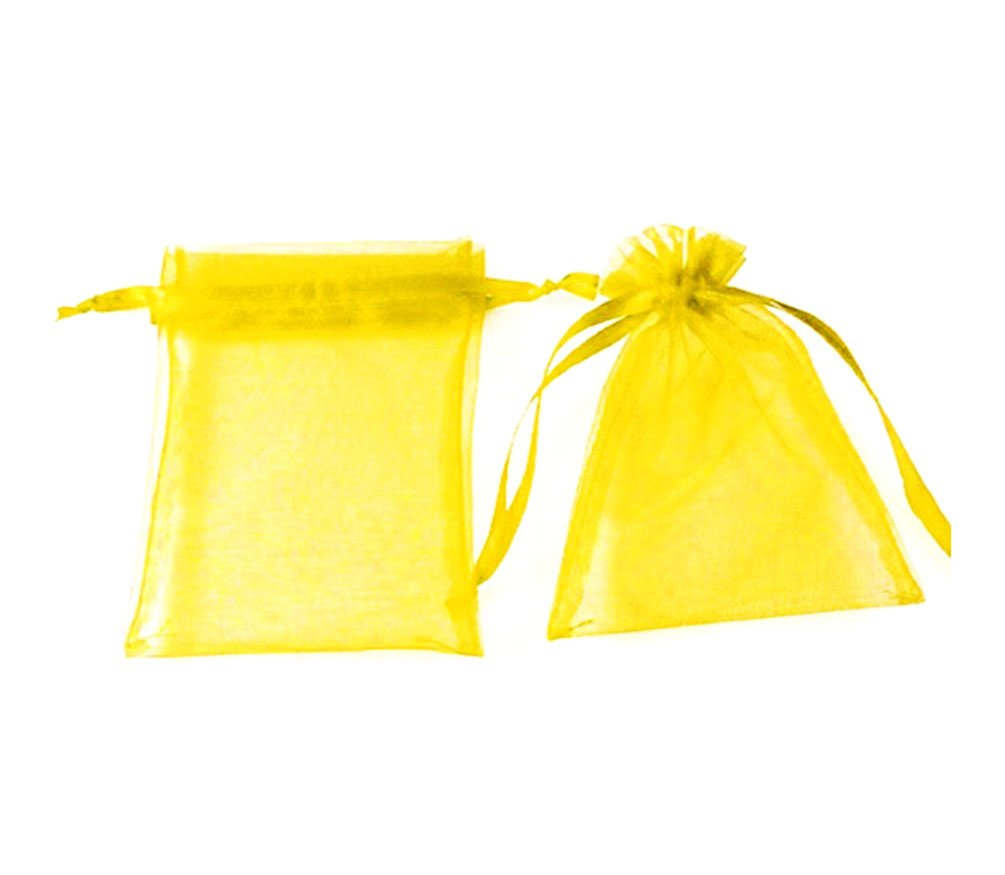 100pcs Yellow Organza Drawstring Pouches Jewelry Party Wedding Favor Gift Bags 4''X5''