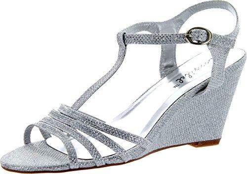 Wedding Wedge Sandals - Bonnibel Womens Flosa-1 Glitter T Strap Wedge Dress Sandals,Silver,7.5