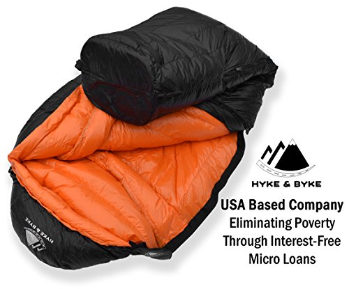 "Hyke & Byke Eolus 15 & 30 Degree F 800 Fill Power Hydrophobic Goose Down Sleeping Bag with ClusterLoft Base - Ultra Lightweight 3 Season Men's and Women's Mummy Bag Designed for Backpacking 6 SAVE SPACE and SHAVE WEIGHT - Our new 2019 model is designed to maximize durability, warmth, and water resistance. Our quest for the perfect solution led us to utilize Hydrophobic 800 FP Goose Down with a revolutionary ClusterLoft base. ClusterLoft performs better than down for durability under compression and moisture resistance. It has been called ""the closest synthetic insulation to natural down ever developed"" due to its performance and its construction mimicking natural down clusters. STAY WARM and DRY as a result of Hydrophobic Goose Down insulation capabilities and water-resistant DWR fabrics - the microscopic air clusters found in down feathers creates ""loft"" that traps heat and keeps you warm for cool weather camping. HIKE FARTHER with the LIGHTEST MUMMY DOWN SLEEPING BAG available for this quality at the price. Summit any mountain or camp by the summer sea with these compact bags and have room for carrying your favorite fleece blanket or silk liner, goose filled pillow, and pad. Weighs ONLY: Short: 1.94 / 2.44 lbs; Regular: 2.05 / 2.62 lbs; Long: 2.16 / 2.80 lbs for the 30 / 15 °F bags, respectively. Compare to other brands to see the price difference we achieve through direct-to-consumer sales."
