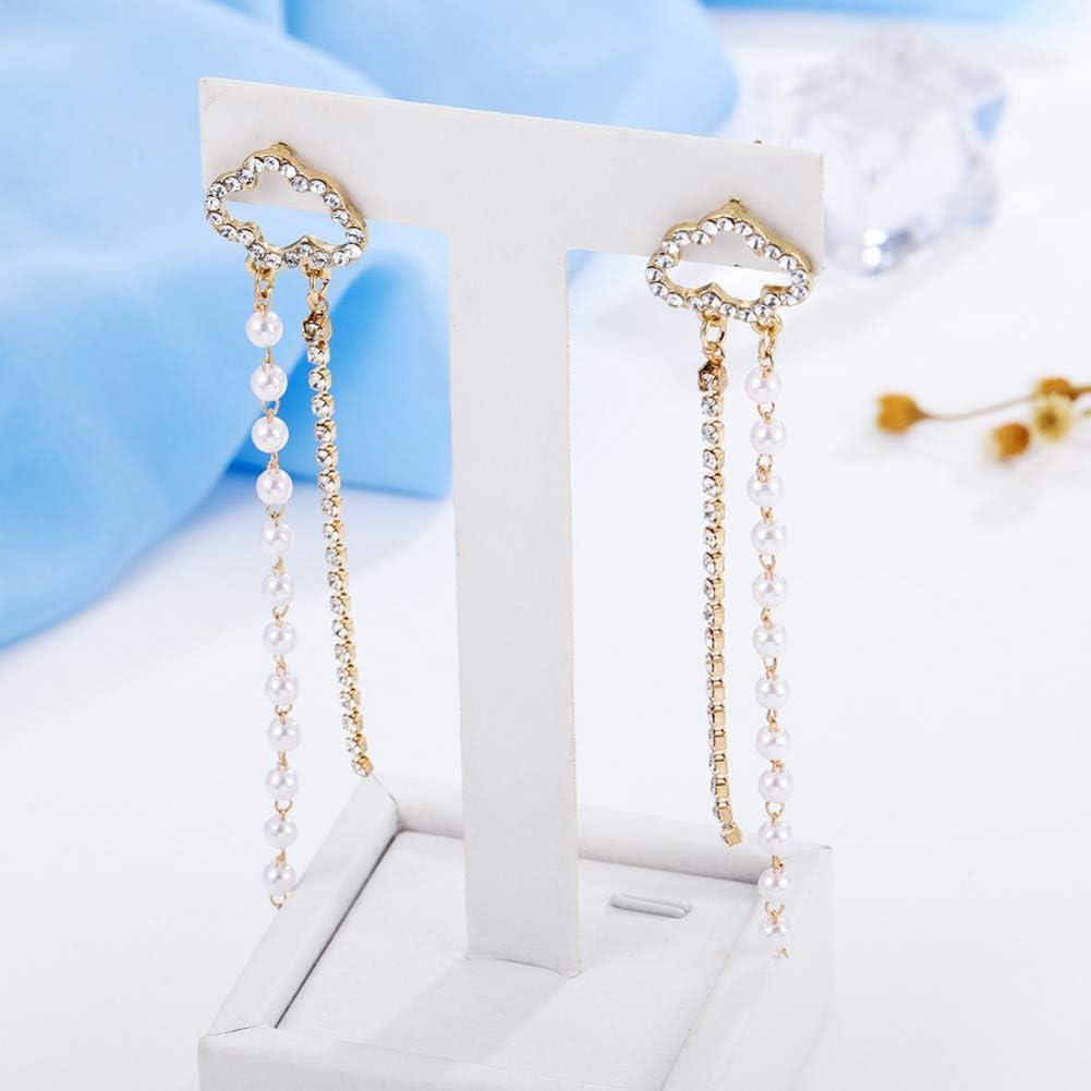 LINLIN Pendientes Colgantes Colgantes de Moda con Pendientes Largos de Perlas de Diamantes de imitación Largos Pendientes de joyería