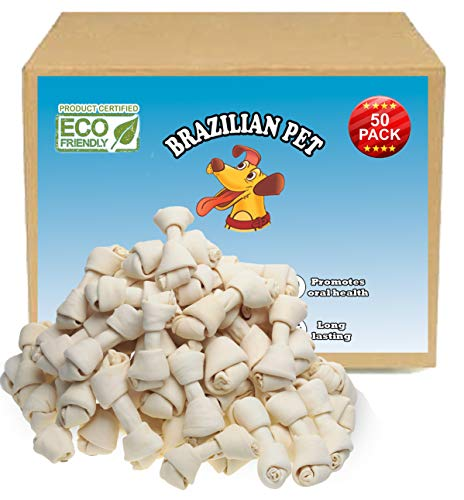 4-5 Inch Premium Dog Bones -Chewing Dog Treat Made with The Best Rawhide 100% Natural - No Additives, Chemicals or Hormones - Natural Grass Fed in South America - USDA/FDA Approved (Natural Rawhide 100%)