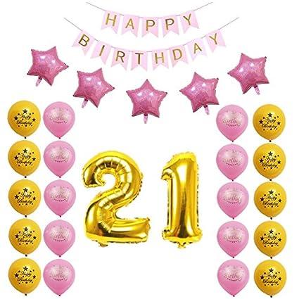 Losuya 21 ° Cumpleaños Kit de Decoraciones para Fiestas ...