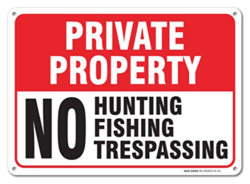 Private Property No Hunting No Fishing No Trespassing Sign, Large 14 X...