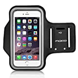 "iPhone 6s Armband, iPhone 6 Armband, MoKo Sports Exercise Running Armband with Key Holder & Card Slot Sweatproof Gym Jogging Fitness Arm Band Case Cover, BLACK (Fits Other Cellphones up to 5.2"")"