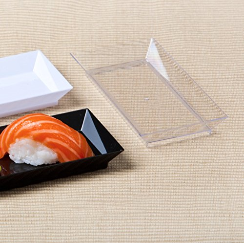 "Zappy 200 ct 2.5"" x 5"" Elegant Petite Mini Rectangle Tray Appetizer Dessert Plates - Disposable Hard Plastic Miniature Tasting Sushi Trays Sample Dish Party Plates Clear"