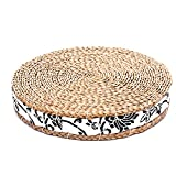 Japanese Tatami Floor Pillow Zafu Natural Seat, Meditation Pillow Yoga mat, Handcrafted Eco-friendly Breathable Pad Knitted Straw Flat Seat Cushion/Straw Futon Cushion for Zen,Yoga,Meditation