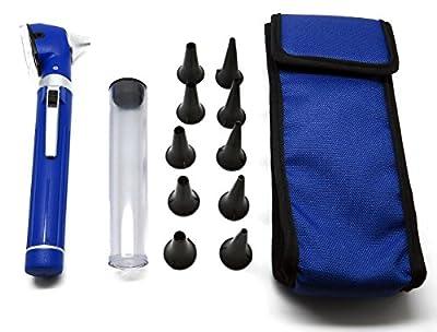 ENT Fiber Optic Blue Otoscope UPGRADED DESIGN Handle, 10 Speculas Diagnostic Instruments