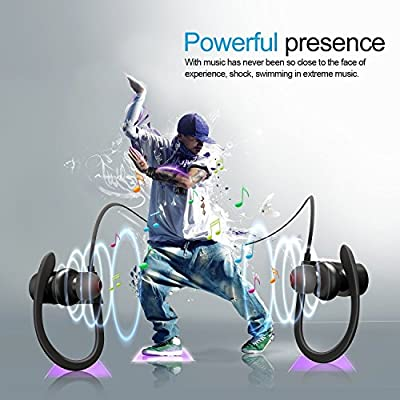 Senzor Bluetooth Headphones, Best Wireless Sports Earphones w/ Mic IPX7 Waterproof HD Stereo Sweatproof Earbuds for Gym Running Workout 8 Hour Battery Noise Cancelling Headsets