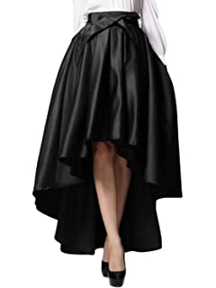 ad6e435700cdd PERSUN Womens Taffeta High Waist Bowknot Front Hi-lo Prom Party Skater Skirt