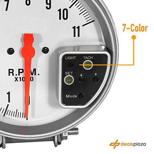 DEALSPLAZA 5'' inch 7 color LED 11K 12V Electronical RPM Tachometer Rev Counter Gauge With Red Shift Light WHITE Face Universal compatible 11000 Sport Meter Kit Car White by Dealsplaza (Image #3)
