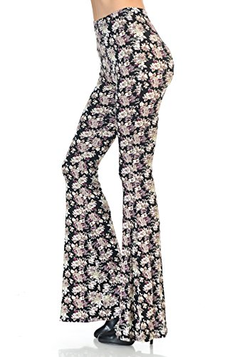 Zoozie LA Women's Bell Bottoms Tie Dye and High Waist  Yoga Pants, Daisy Floral Pink Black Print, Small