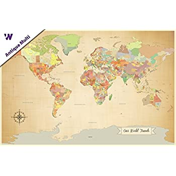 Amazon perfect for push pins world map political 36x24 sale push pin world map world map with pins paper anniversary world gumiabroncs Images