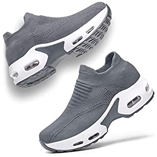 UKUGIJIMA Womens Walking Shoes Slip on Sneaker for Women Platform Lightweight Running Shoe Workout Comfortable Socks Shoes Grey Size 7 Gray 38