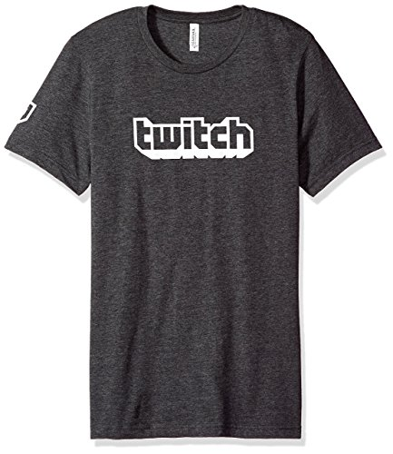 Faded Logo Tee - Twitch Logo Men's Tee S/S Crew (Small, Charcoal)