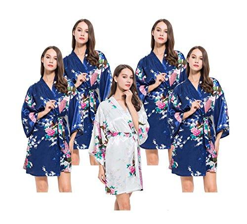 FETE FABULOUS Conjunto de 4 túnicas/kimonos de satén con diseño de pavo real, para despedida de soltera, túnicas de preparación, OSFM, batas de boda para ...