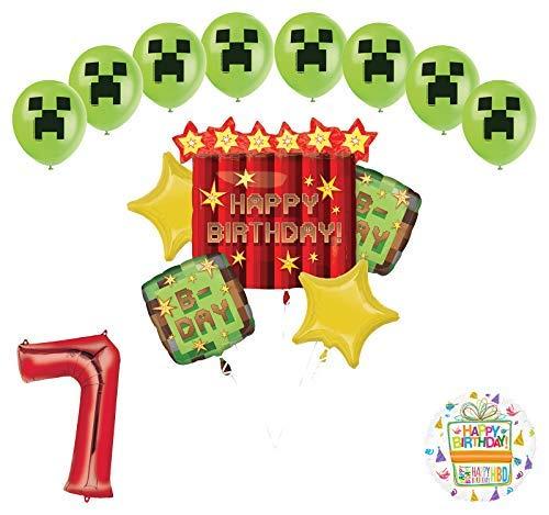 Minecraft-Inspired Miner ピクセルTNTビデオゲーム 7歳の誕生日 バルーンブーケ デコレーション   B07SPHQ9DQ