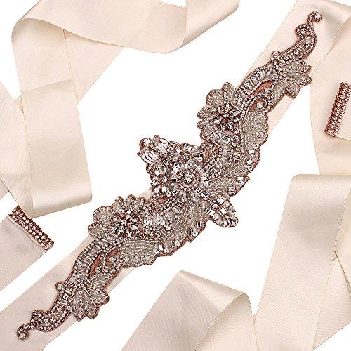 Rhinestone Bridal Applique Belt,LIANGZHILIAN Beaded Wedding Sashes Belts Crystal Trim for Bride Bridesmaid Wedding Dresses Formal Clothes