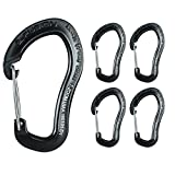 Fusion Climb Techno Zoom Military Tactical Edition Aluminum Wire Gate Ergonomic Carabiner Black 5-Pack