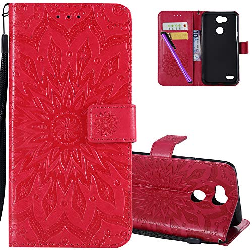3dee7bc26a5 HMTECHUS LG X Power 3 Phone Case Sun Flower Embossed for Girls Retro Wallet  Case with