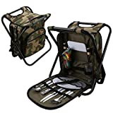 A-SZCXTOP Multi-function Tableware Package Fishing Stool with Double All Kinds of Flatware and Thermal Insulated Shoulder Bag for Hiking, Camping,Traveling, Fishing and Picnic
