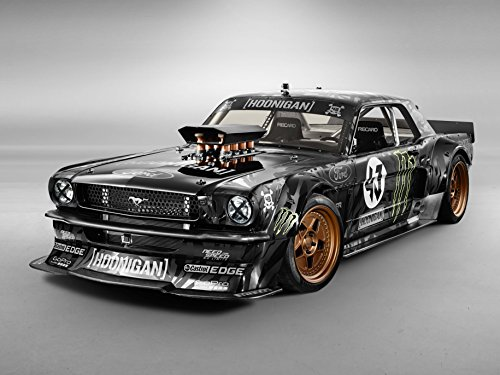 Ford Car Ads (Ford Mustang by Ken Block (1965) Car Art Poster Print on 10 mil Archival Satin Paper Black Front Side Studio View 11