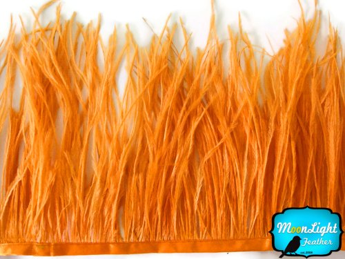 Price comparison product image Ostrich Feathers ,  Orange Ostrich Fringe Trim Feather - 6 Inches