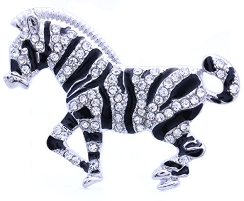 Zebra Horse Brooch Pin Clear Rhinestone Black Enamel Animal Fashion (Black Enamel Animal)
