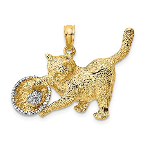 14k Yellow Gold with White Rhodium odium Cat Playing With Yarn In Basket Charm Pendant (Gold 14k Cats Charms White)