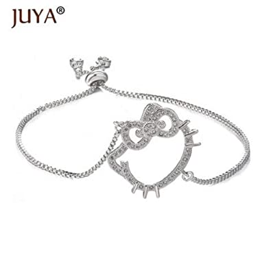 e9e25c0aa Amazon.com: Juya Hello Kitty Bracelets for Women Girls Handmade Simple  Adjustable Chain Bracelet Gold Silver Rose Gold: Jewelry