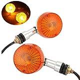 INNOGLOW Motorcycle Turn Signals Universal Custom Mini Motorbike Round Indicator Light Lamp 12V Amber
