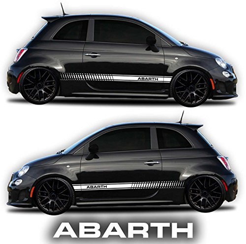 Side Panel Decal - Fiat 500 Abarth Side Decals Stickers Rocker Panel Racing Stripes (2 Sides Graphics + Abarth Windshield Decal Free) - By Sgmotiv (White)