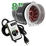 8'' inch Vortex S Line S-800 Power Fan 728 CFM by Atmosphere + VenTech Variable Fan Speed Controller