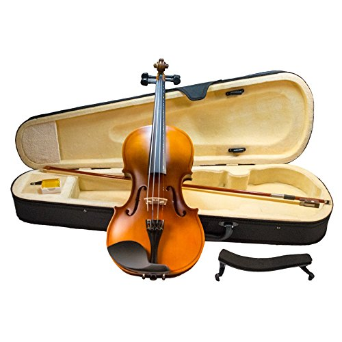 YMS SD-155 Full Size Suzuki Student 4/4 Violin Outfit Beginners Kit Hand Carved Antiqued Flamed Maple w/ Case Bow Rosin and Shoulder Rest by TukTek ()