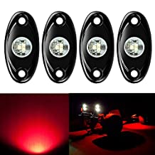 4 Pods LED Rock Light CREE Chips, Ampper Universal Fit Waterproof Multi Function Accent Glow Neon LED Light Kits for Cars Offroad Truck Boat Deck Underbody Interior Exterior (Red)