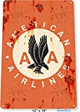 TIN SIGN 12'' x 18'' American Airlines Airplane Commercial Aviation Rustic Retro Metal Decor Tinworld B332