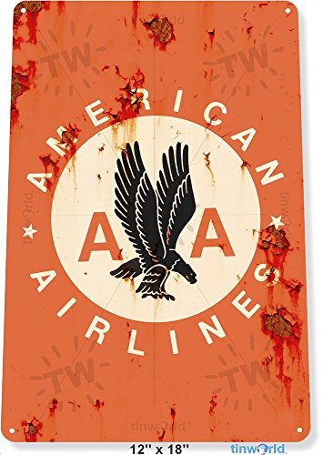 TIN SIGN 12'' x 18'' American Airlines Airplane Commercial Aviation Rustic Retro Metal Decor Tinworld B332 by Tinworld