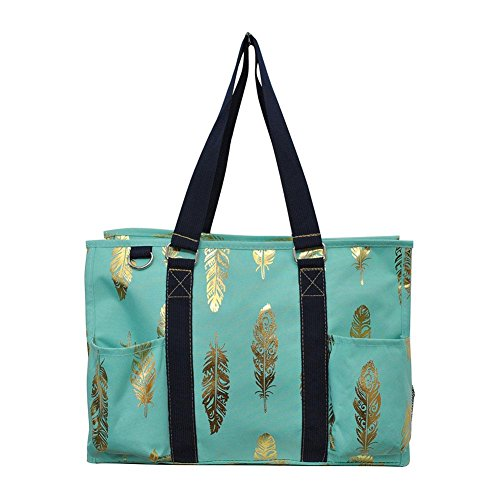 N Gil All Purpose Organizer Medium Utility Tote Bag 4 - 2017 Fall New Pattern (Gold Feather Mint)