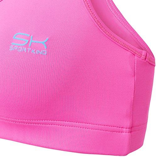 Sportkind Soutien-gorge de sport / tennis / fitness avec maintien moyen pour fille et femme en rose fluo tailles 11 ans à XL