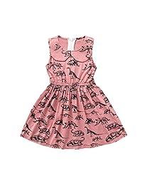 Vincent&July Baby Girls Summer Dress Dinosaur Print Lapel Sleeveless
